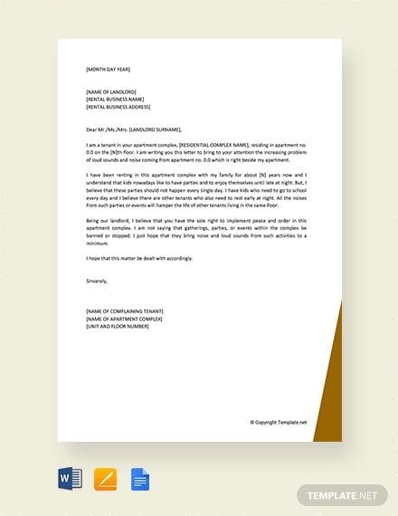 free tenant complaint letter about noise