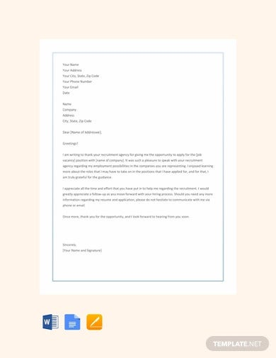 free thank you letter to recruiter agency template