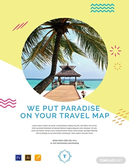 free travel advertising poster template 440x570 11
