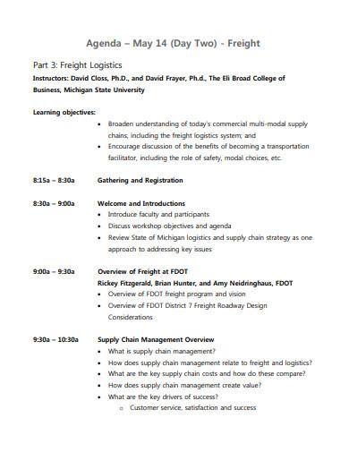 freight logistics agenda template