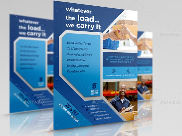 freight and logistic services flyer template