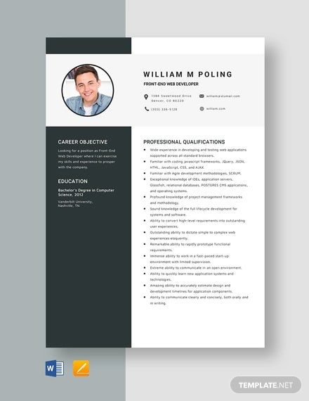 front end web developer resume template