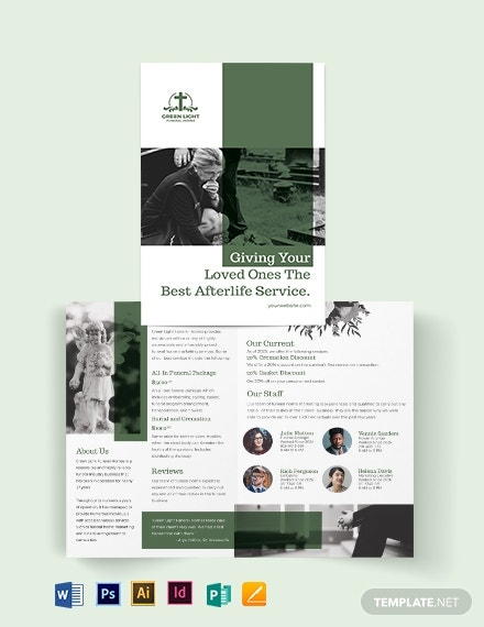 funeral home marketing bi fold brochure template
