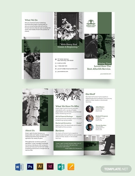 funeral home marketing tri fold brochure template