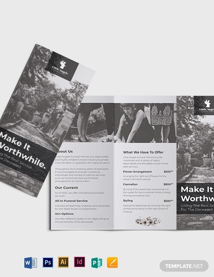 funeral home sales tri fold brochure template