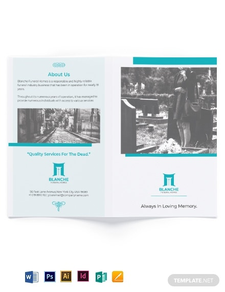 funeral home services bi fold brochure template
