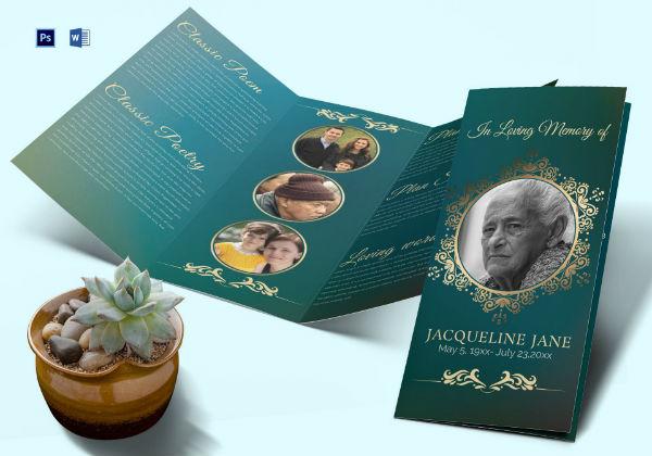funeral invitation trifold brochure template