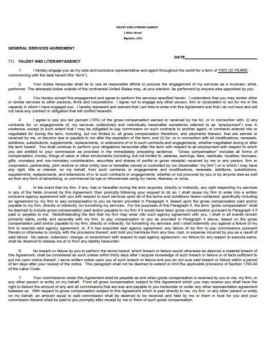 general service talent agency agreement template