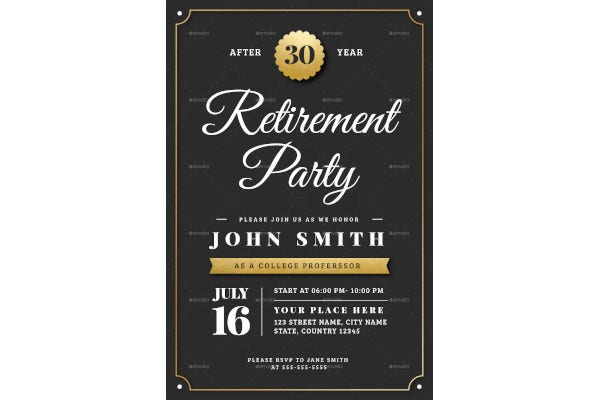 gold retirement party invitation flyer template