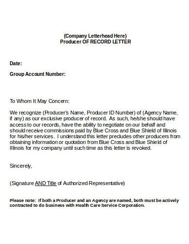 group agency of producer record letter template