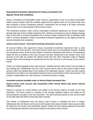 guaranteed investment agreement template