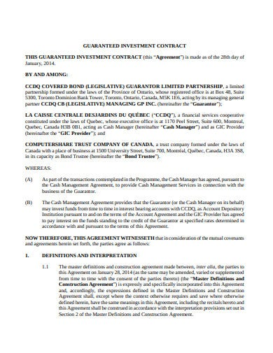 guaranteed investment contract agreement template