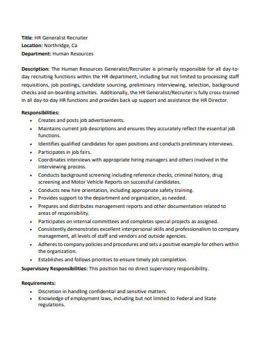 hr generalist recruiter job description template