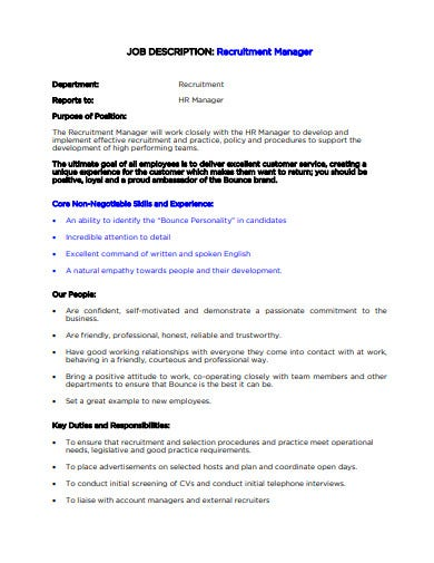 hr manager recruitement job description template