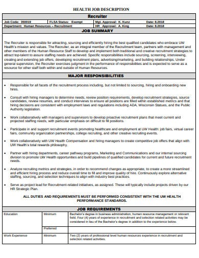 hr recruiter health job description template
