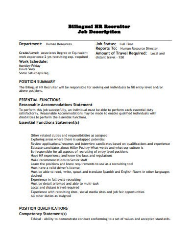 hr recruiter job description template