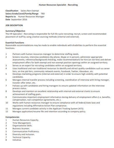 hr specialist recruiter job description template