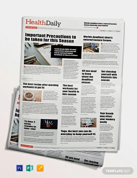 health newspaper template