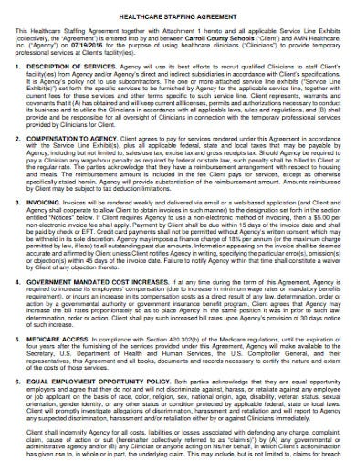 healthcare staffing agency agreement