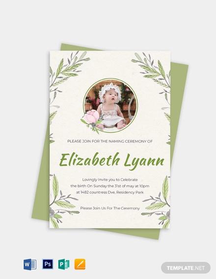 heartfelt baby naming ceremony invitation template