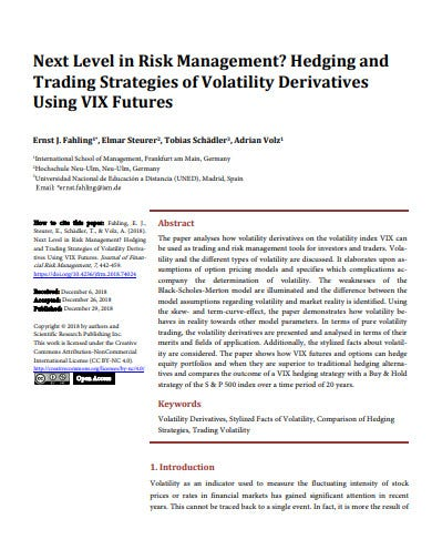 hedging and trading strategies of volatility derivatives