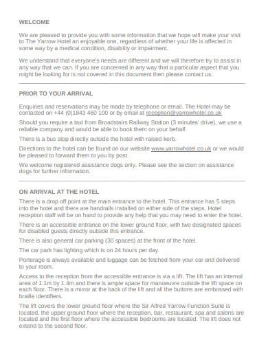 hotel access statement