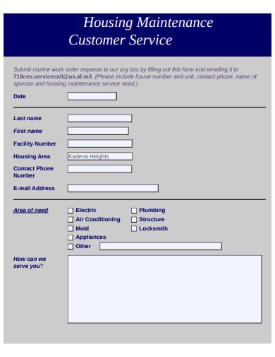 housing maintenance customer service form
