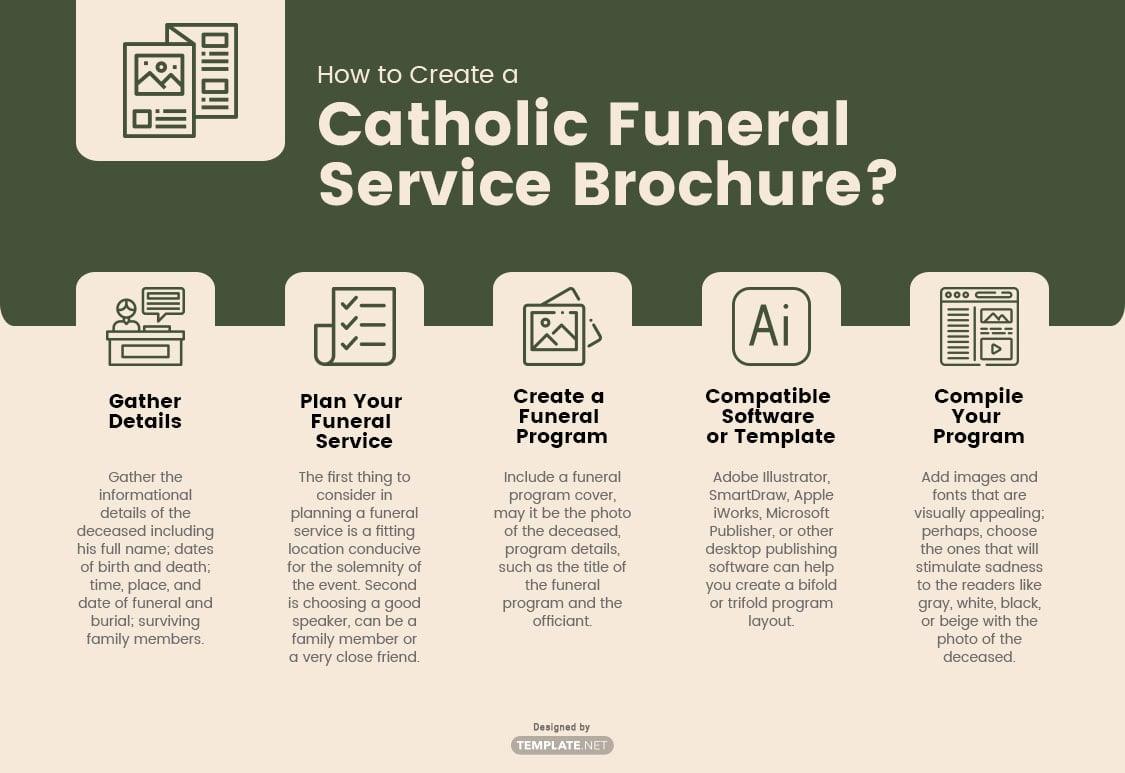 catholic funeral service brochure template
