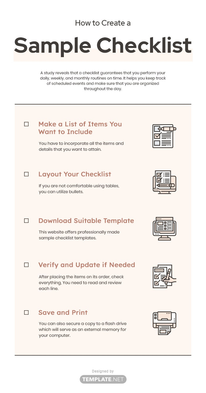 how to create a sample checklist