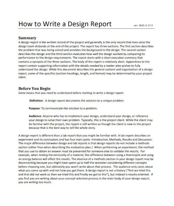 how to write a design report