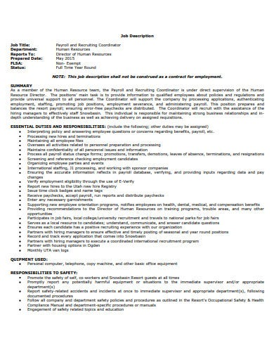 hr payroll recruiting coordinator job description template