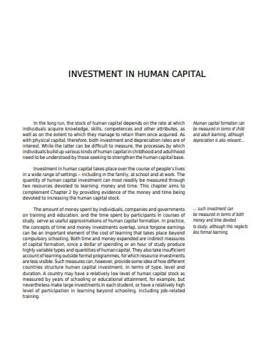 human capital investment template