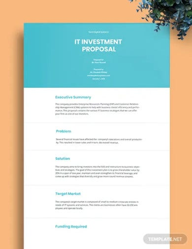 it investment proposal template
