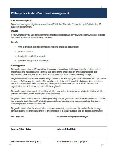 it project audit checklist