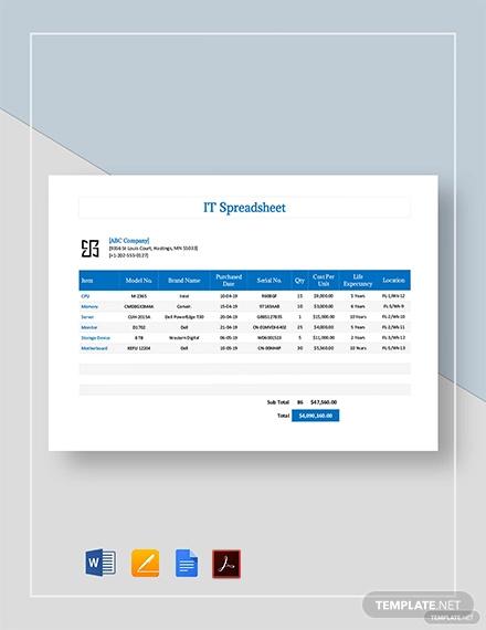 it spreadsheet template