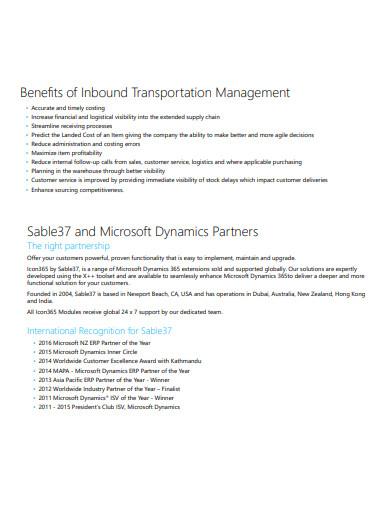inbound transportation management benifits
