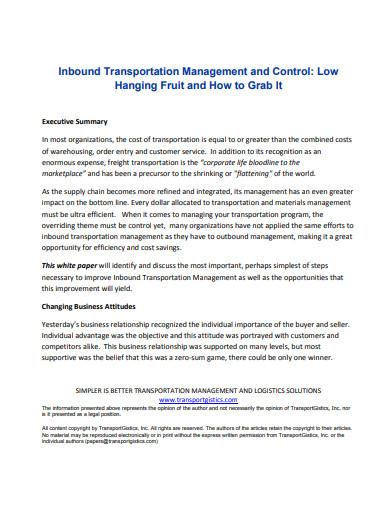inbound transportation management and control template