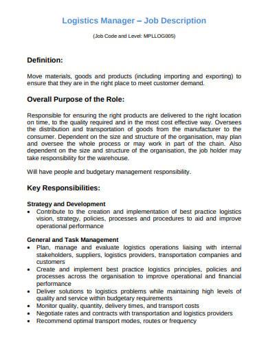 industrial logistics manager job description