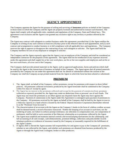 insurance agency agreement template