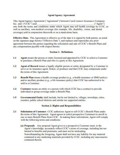 insurance company agency agreement template