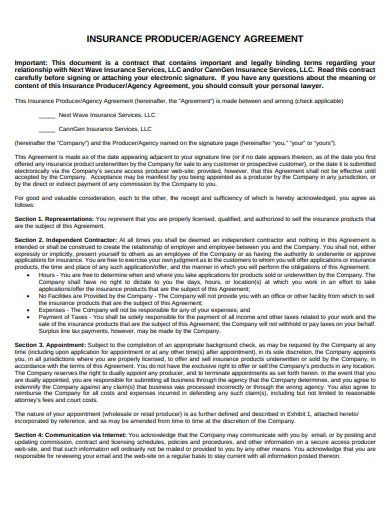 insurance producer agency agreement template
