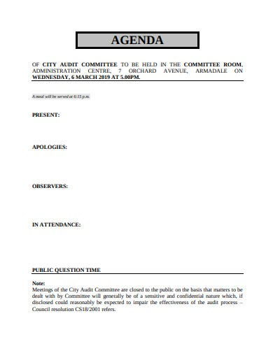 internal audit committee agenda