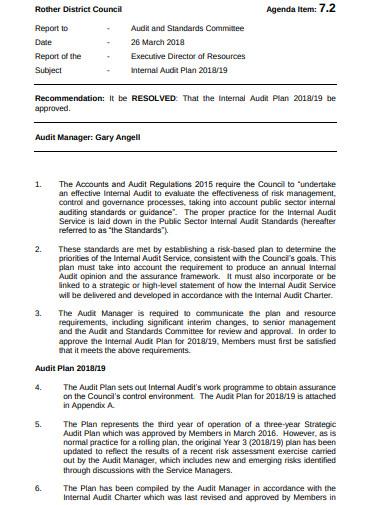internal audit manager agenda