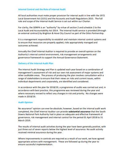 internal audit report agenda