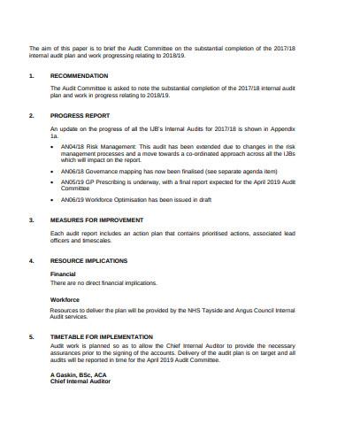 internal audit plan agenda