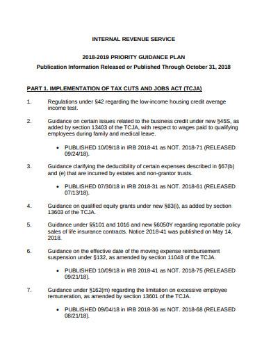 internal revenue priority guidance plan