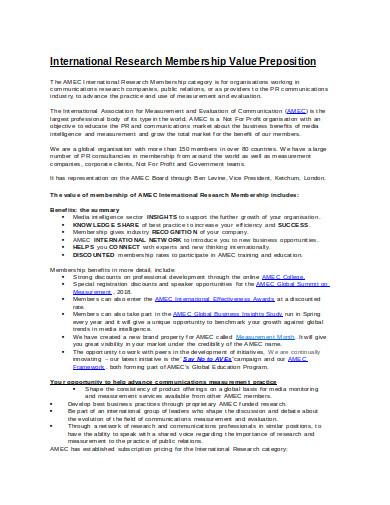 international research membership value preposition template