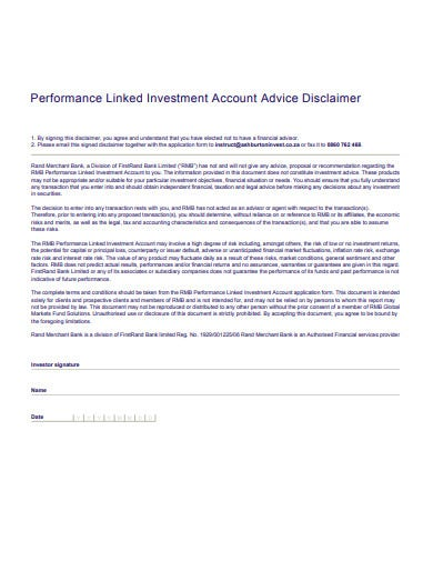 investment account advice disclaimer