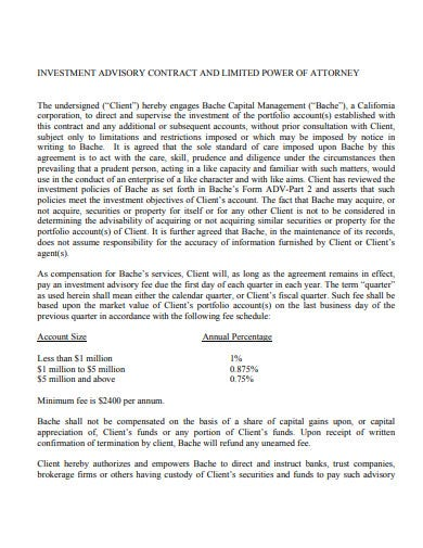 investment advisory contract and limited power of attorney