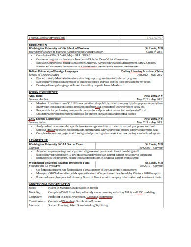 investment banking analysis resume